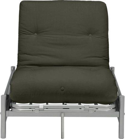 An Image of Argos Home Single Futon Metal Sofa Bed with Mattress - Grey