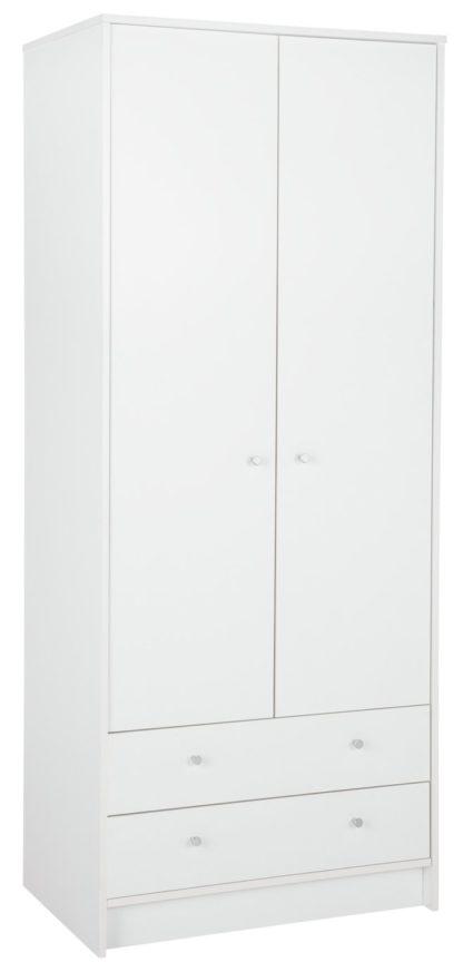 An Image of Habitat Mailbu 2 Door 2 Drawer Wardrobe - White