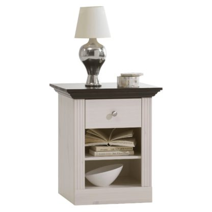 An Image of Steens Monaco 1 Drawer Bedside Table White