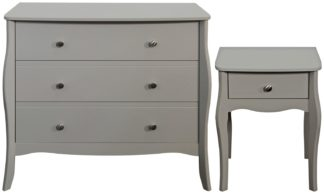 An Image of Amelie Bedside Table & 3 Drawer Chest Set - Grey