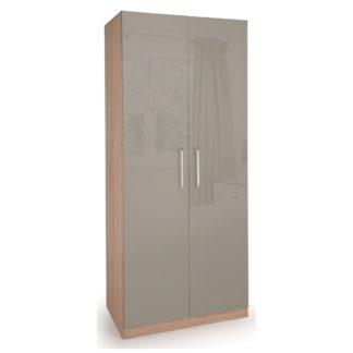 An Image of Kensington 2 Door Wardrobe Brown and Grey