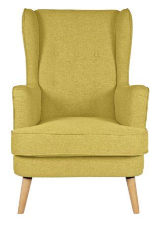 An Image of Habitat Callie Fabric Wingback Chair - Mustard Yellow