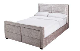 An Image of Argos Home Kourtney Velvet Kingsize Bed Frame - Silver