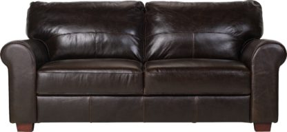 An Image of Habitat Salisbury 3 Seater Leather Sofa - Dark Brown