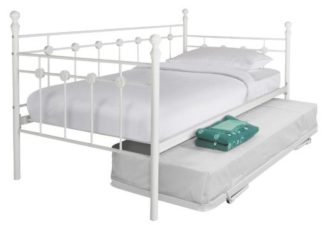 An Image of Argos Home Abigail Metal Daybed, Trundle & 2Mattresses White