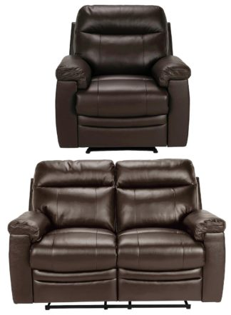 An Image of Argos Home Paolo Chair & 2 Seater Manual Recline Sofa -Brown