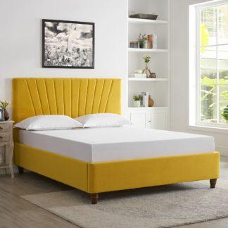 An Image of Lexie Velvet Bed Frame - Mustard Yellow