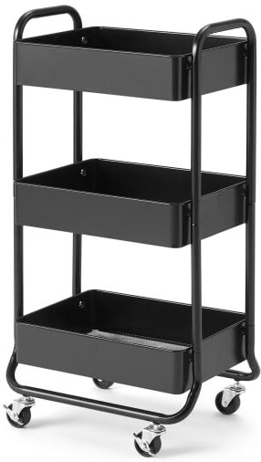 An Image of Kennedi Perforated Metal 3 Tier Storage Trolley, Black