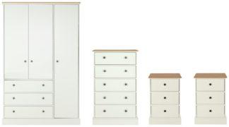 An Image of Argos Home Kensington 4 Piece Wardrobe Set -Ivory/Oak Veneer