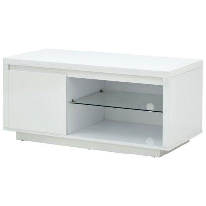 An Image of Polar 1 Door TV Unit - White Gloss