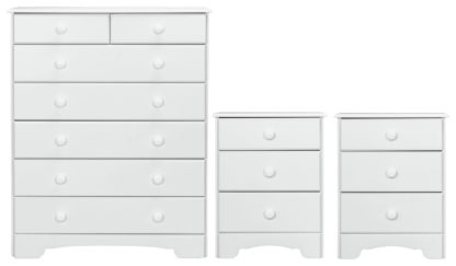 An Image of Argos Home Nordic 2 Bedsides & 5+2 Drawer Set - Soft White