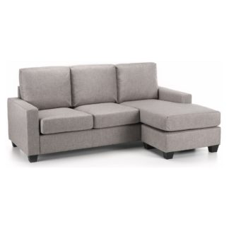 An Image of Carla Reversible Fabric Corner Chaise Sofa Grey
