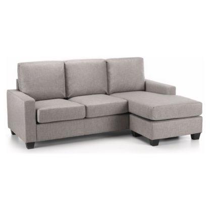 An Image of Carla Reversible Fabric Corner Chaise Sofa Grey