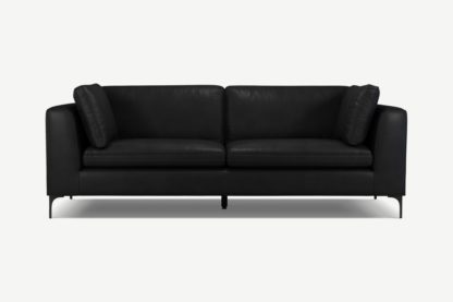 An Image of Monterosso 3 Seater Sofa, Denver Black Leather with Black Leg