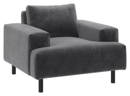 An Image of Habitat Julien Velvet Armchair - Grey