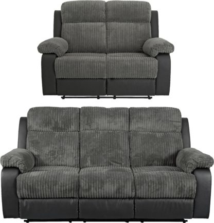 An Image of Argos Home Bradley 2 & 3 Seater Recliner Sofa - Charcoal