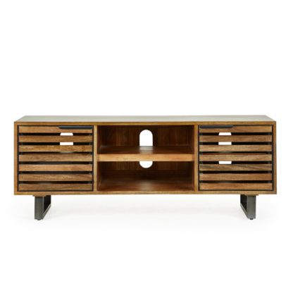 An Image of Slatted Mango TV Stand Brown
