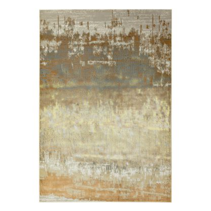 An Image of Asiatic Aurora Abstract Rectangle Rug - 80x150cm - Gold