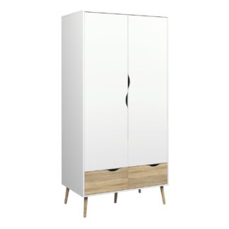 An Image of Viken 2 Door 2 Drawer Wardrobe - White and Oak