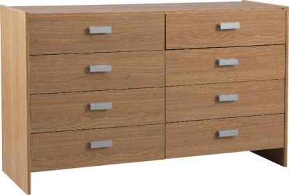 An Image of Argos Home Capella 4 + 4 Drawer Chest - Oak Effect