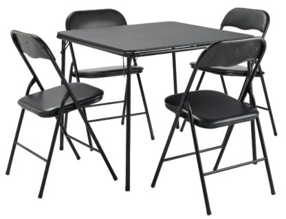 An Image of Argos Home Quin Metal Folding Table & 4 Folding Chairs