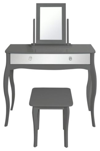 An Image of Argos Home Amelie Mirror Dressing Table Set - Grey
