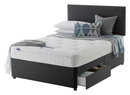 An Image of Silentnight Travis Ortho 2 Drw Charcoal Divan Bed - Double