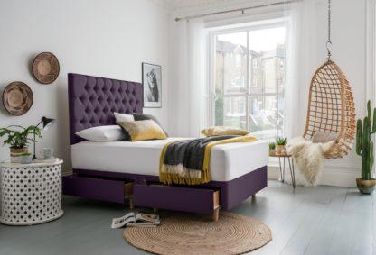 An Image of Silentnight Sassaria Superking 4 Drawer Divan Bed - Purple