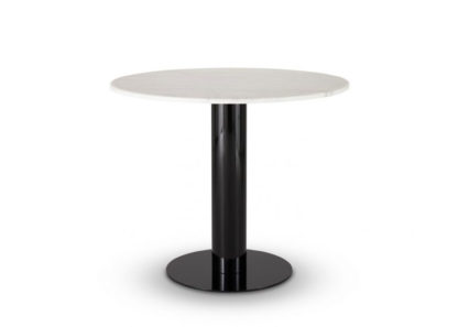 An Image of Tom Dixon Tube Dining Table Black Base White Marble Top