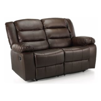 An Image of Whitfield 2 Seater Leather Reclining Sofa Brown