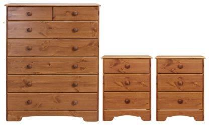 An Image of Argos Home Nordic 2 Bedsides & 5+2 Drawer Chest Set - Pine