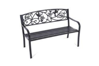 An Image of Greenhurst 2 Seater Metal Garden Bench - Black