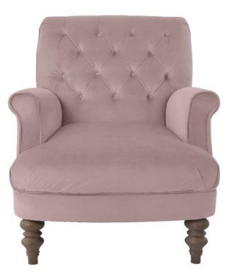 An Image of Habitat Valerie Velvet Accent Chair - Pink