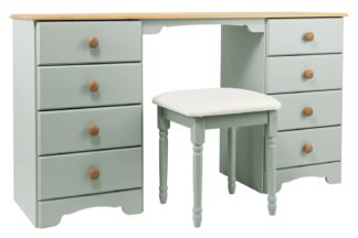 An Image of Argos Home Nordic Dressing Table & Stool - Grey & Pine