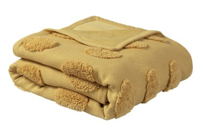 An Image of Argos Home Tufted Spot Handwoven Throw - 125x150cm - Mustard