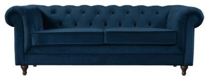 An Image of Habitat Chesterfield 3 Seater Velvet Sofa - Green