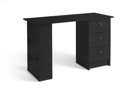 An Image of Habitat Malibu 3 Drawer Office Desk - Black