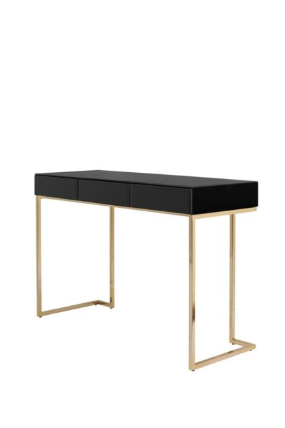 An Image of Lorenzo Toughened Black Glass Console Table