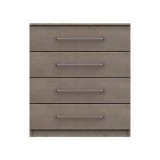 An Image of Parker Beige 4 Drawer Chest Dark Wood (Brown)