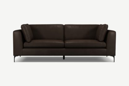An Image of Monterosso 3 Seater Sofa, Denver Dark Brown Leather with Black Leg