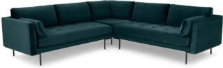 An Image of Harlow Corner Sofa, Coastal Blue Velvet