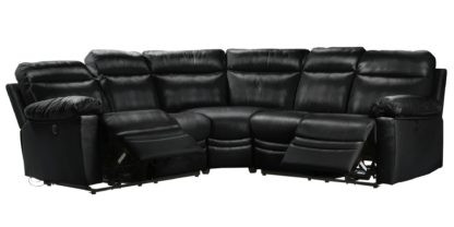 An Image of Argos Home Paolo Corner Leather Mix Power Recline Sofa -Grey