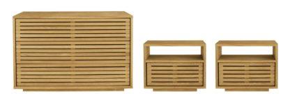 An Image of Habitat Max 2 Bedside Table & 3 Drawer Chest Set - Oak