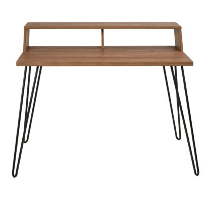 An Image of Bea Oak Effect Smart Desk Mid Oak (Brown)