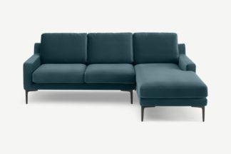 An Image of Katrine Right Hand Facing Chaise End Corner Sofa, Steel Blue Velvet