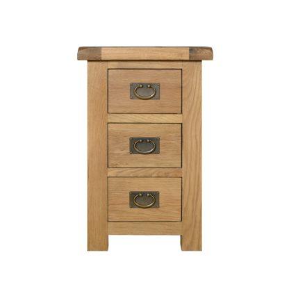 An Image of Aylesbury Oak Wide 3 Drawer Bedside Table Light Brown / Natural