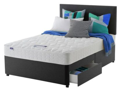 An Image of Silentnight Travis Microquilt 2 Drw Charcoal Divan -S Double