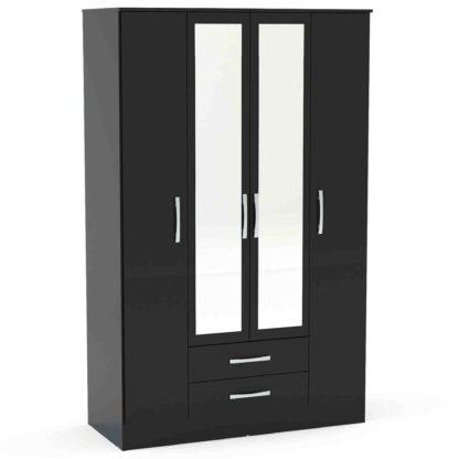 An Image of Lynx Black Gloss 4 Door 2 Drawer Mirrored Wardrobe Black