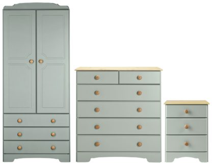 An Image of Argos Home Nordic 3 Piece 2 Door Wardrobe Set - Pine