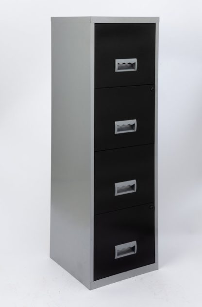 An Image of 4 Drawer A4 Metal Filing Cabinet - Silver & White